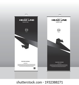 Vector layout of roll up mockup design templates for vertical flyers, flags design templates, banner stands, advertising design mockups. Tech science future background, dark paper design tech rollup