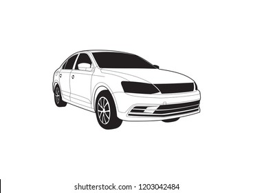 vector layout of a sedan. Volkswagen Jetta.