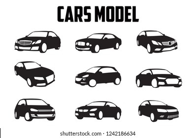 vector layout of a set of car models