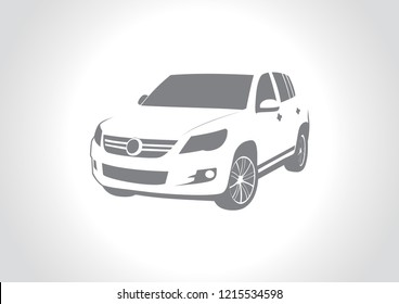 vector layout of the silhouette of a car on a gray background. Volkswagen Tiguan.