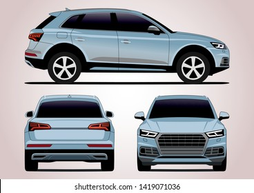 vector layout of silver compact SUV. Audi Q5.