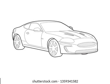 vector layout of sport coupe