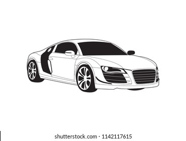 vector layout of sport coupe. Audi R8