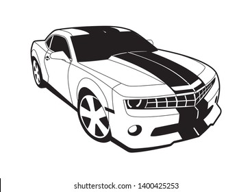 vector layout of a sports American car. Chevrolet Camaro.