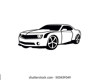 vector layout of a sports car. Chevrolet Camaro.