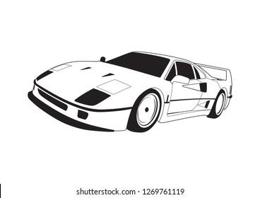 vector layout of a sports car. Ferrari F40