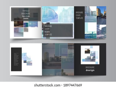 Vector layout of square format covers templates for trifold brochure, flyer, magazine, cover design, book design, brochure cover. Abstract design project in geometric style with blue squares.