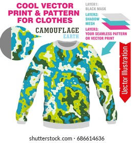 Vector layout, sublimation print camouflage for printing on clothes. Image for print on T-shirts, sweatshirts, shirts, sweaters, cardigans, pullover, leggings, souvenirs, tablecloths, socks, pants.