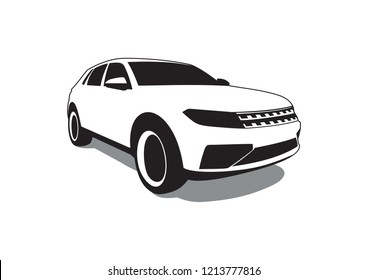vector layout of an SUV. Volkswagen cross blue.