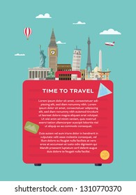 Vector layout template with illustration of international landmarks on suitcase