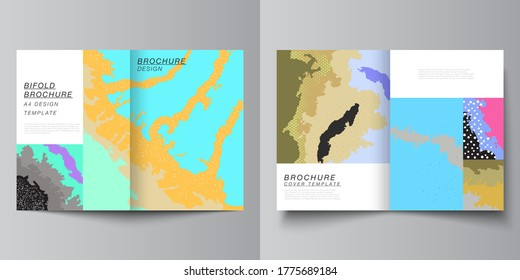 Vector layout of two A4 cover mockups design templates for bifold brochure, flyer, cover design, book design, brochure cover. Japanese pattern template. Landscape background decoration in Asian style