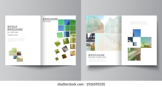 Vector layout of two A4 cover mockups design templates for bifold brochure, flyer, magazine, cover design, book design, brochure cover. Abstract project with clipping mask green squares for your photo
