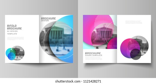 The vector layout of two A4 format cover mockups design templates for bifold brochure, magazine, flyer, booklet, annual report. Creative modern bright background with colorful circles and round shapes