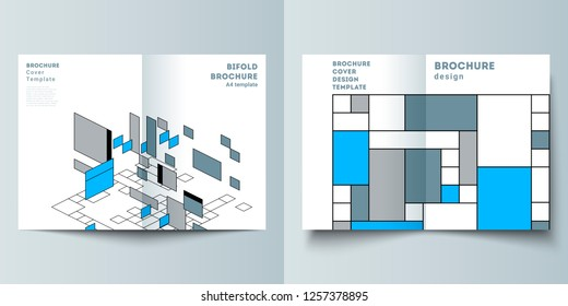 The vector layout of two A4 format modern cover mockups design templates for bifold brochure, flyer, booklet. Abstract polygonal background, colorful mosaic pattern, retro bauhaus de stijl design