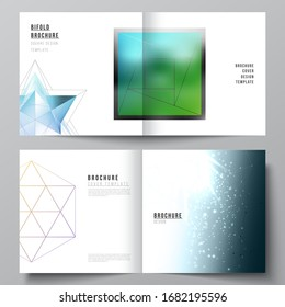 Vector layout of two covers templates for square design bifold brochure, magazine, flyer, booklet. 3d polygonal geometric modern design abstract background. Science or technology vector illustration.
