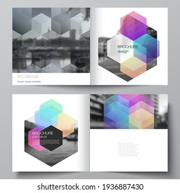 Vector layout of two covers templates with abstract shapes and colors for square design bifold brochure, flyer, magazine, cover design, book design, brochure cover.