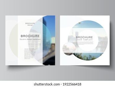 Vector layout of two square format covers templates for brochure, flyer, magazine, cover design, book design, brochure cover. Background template with rounds, circles for IT, technology. Minimal style