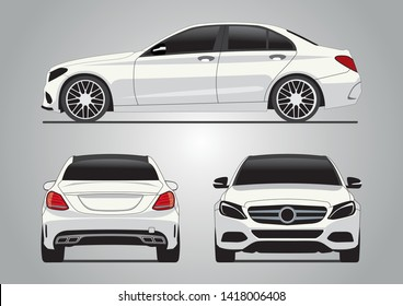 vector layout of a white German car. Мерседес W205.
