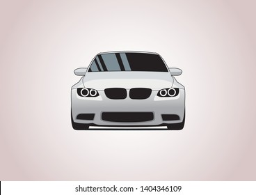 vector layout of white sedan front view. BMW.