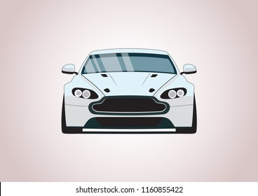 Vector layout of a white sports car. Aston-Martin.