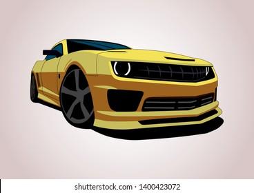 vector layout of yellow American sports car. Chevrolet Camaro.