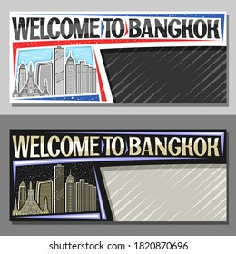 Vector layouts for Bangkok with copy space, decorative voucher with illustration of modern bangkok city scape on day and dusk sky background, art design tourist coupon with words welcome to bangkok.