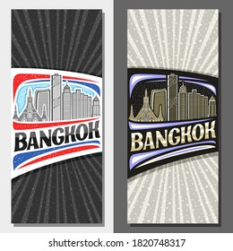 Vector layouts for Bangkok, decorative leaflet with outline illustration of urban bangkok city scape on day and evening sky background, art design tourist card with unique letters for word bangkok.