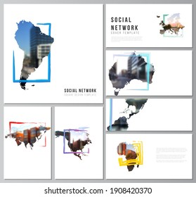 Vector layouts of social network mockups for cover design, website design, website backgrounds or advertising mockups. Design template in the form of world maps and colored frames, insert your photo.