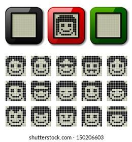 vector LCD display pixel faces