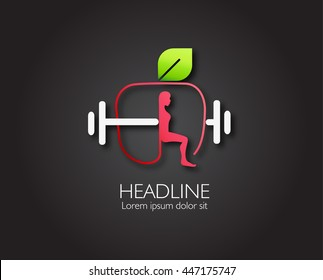 Vector leaf, apple and heartbeat Healthy Food Logo Template,workout fitness  Abstract emblem, design concept, logo, logotype element for template.