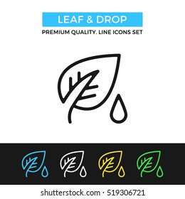 Vector leaf and drop icon. Premium quality graphic design. Modern signs, outline symbols collection, simple thin line icons set for websites, web design, mobile app, infographics