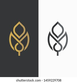 Vector leaf, golden and monochromatic. logotype element for template.