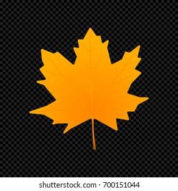 Vector leaf isolated on dark transparent background. Vector illustration of colorful orange leaf.