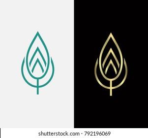 Vector leaf logo, flat leaf logo