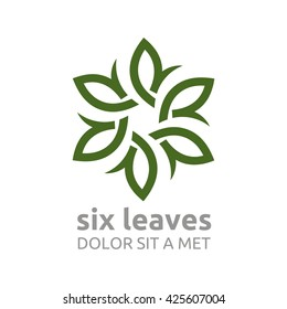 Vector Leaf Six with Natural Ecology Abstract Design Concept, Logo, Logotype element for template.