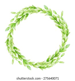 Vector leaf watercolor wreath. Template for wedding invitation and save the date cards.