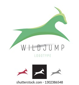 Vector Leaping Mountain Goat, Deer, Gazelle, Impala Logo. Professional Business Corporate Branding Icon.