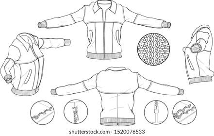 Vector Leather Bomber Jacket Fashion Detailed Scheme