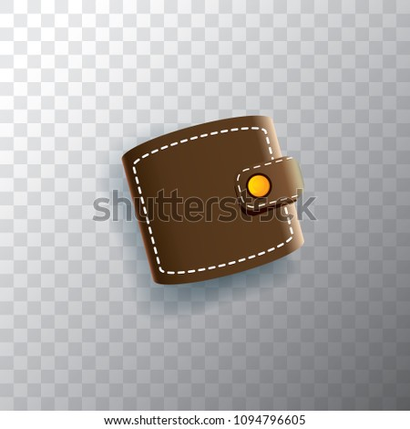 vector leather brown wallet icon isolated stock vector royalty free
