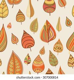 Vector leaves design, floral seamless pattern, leaf background. Plants ornament