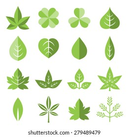 Vector leaves icon set in flat style