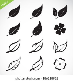 Vector leaves icon set on white background. leaves logo. Easy editable layered vector illustration.