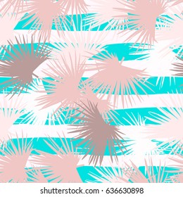 Vector leaves palm repeating floral pattern trendy color on a stripes rough texture patterns. Vector flora palm coconut leaves blue green color trendy background.