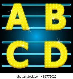 Vector LED shining lamp alphabet