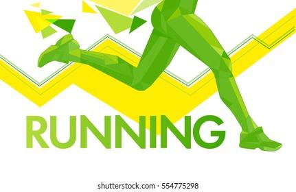 Vector Legs Running lines triangles polygons motion Marathon