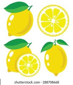 Vector lemon. Fresh lemon fruits, collection of vector illustrations