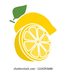 vector lemon icon. Flat illustration of fresh lemon. lime fruit isolated on white background. lemon slice sign symbol