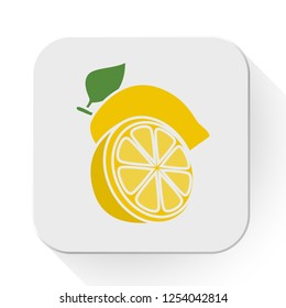 vector lemon icon. Flat illustration of fresh lemon. lime fruit isolated on white background. lemon slice sign symbol