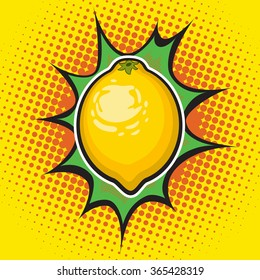 Vector lemon pop art retro style.