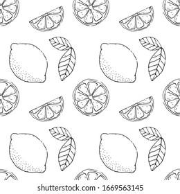 Vector lemon seamless pattern.Abstract background design.